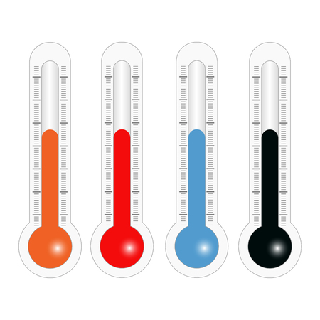 hotter: Thermometers in different colors in vector