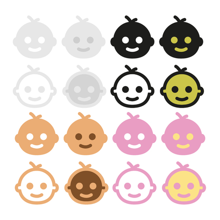 babe: Icons baby-faced, gray, beige, pink, black and white Illustration