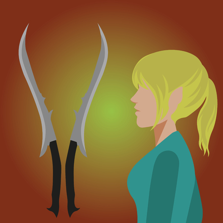 ponytail: Elf girl with blonde ponytail in profile, near are her swords