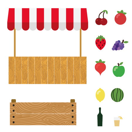 Market tent with white and red striped. Market stall, wooden box, cherry, tomato, strawberry, grape, radish, green apple, lemon, watermelon, wine, lemonade. Stock Illustratie