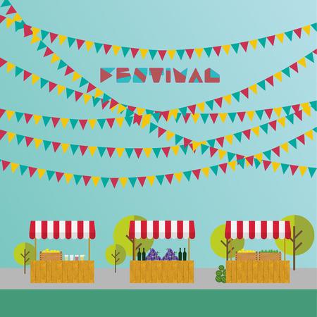 Палатка на рынке, сельскохозяйственной продукции, вина и винограда, лимонада и лимонов в деревянном ящике. Рынок место. Фестиваль. Флаги на открытом воздухе.