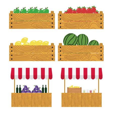 Boîte en bois avec des pommes, des tomates, citrons, pastèques. tente sur le marché, les produits agricoles, vin et les raisins, de la limonade et des citrons dans une boîte en bois. Place du marché.