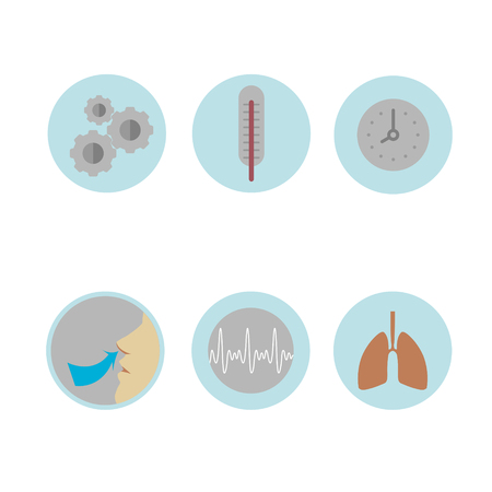respiration: Colored medical Icons on the theme of respiration: a thermometer, lungs, watch, schedule, easy breathing in vector