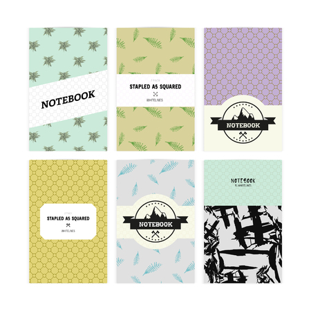 sketchpad: Set of notebook covers with patterns with leaves of fern, abstract theme, mountains in vector