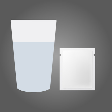 dissolving: Glass of water and the powder in the packet Illustration