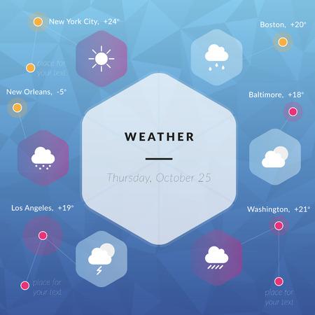 granizo: Infograf�a clim�ticas, los iconos del tiempo las nubes, el sol, la lluvia, la nieve, truenos, granizo en estilo plano