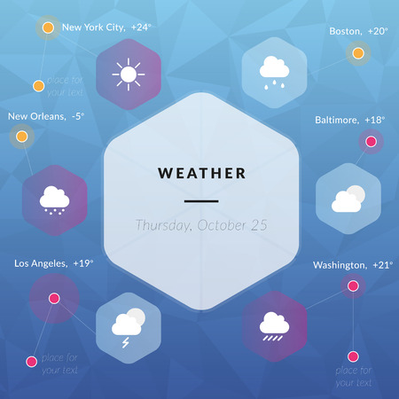 hail: Weather infographics, weather icons clouds, sun, rain, snow, thunder, hail in flat style Illustration