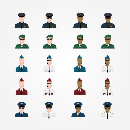 garrison: Set of policeman military pilot flight attendant woman pilot in sunglasses officer, Major General, cop, trooper in flat style.