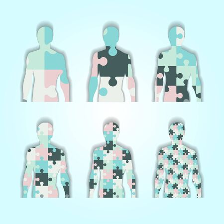 which: Set of silhouettes of people inside which is puzzle Illustration