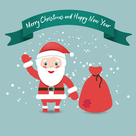 house of santa clause: Funny Santa Claus with bag in red suit under snow, Christmas and New Year card.