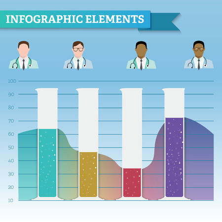 with liquids: Beakers with liquids that form the graph gradient. Material design. Doctors different races. Infographic