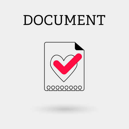 heart outline: Document with tick and heart. Outline style
