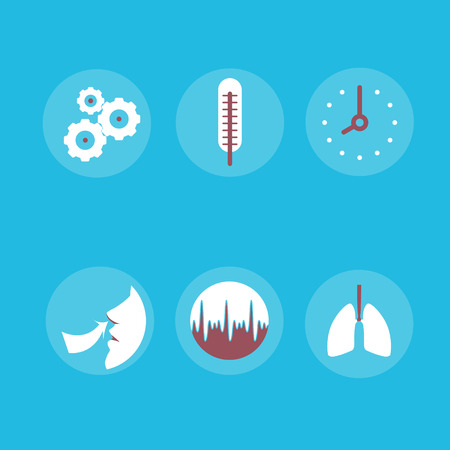 respiration: Medical Icons on the theme of respiration: a thermometer, lungs, watch, schedule, easy breathing in vector.