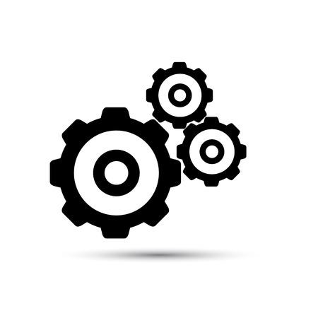 dag: Black gearwheel mechanism in vector. Illustration