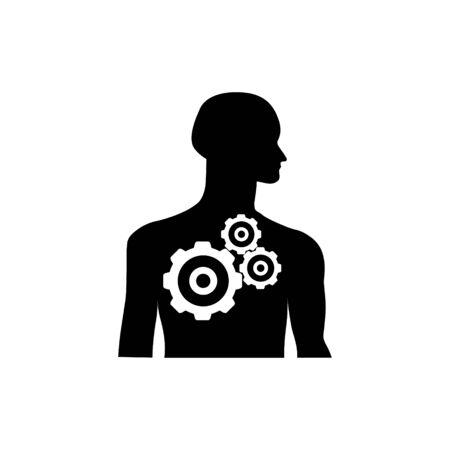 Gearwheel mechanism in silhouette of man.