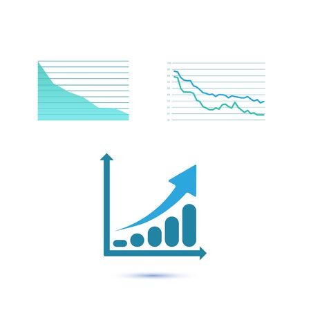 grow money: Set of three growth charts. Illustration