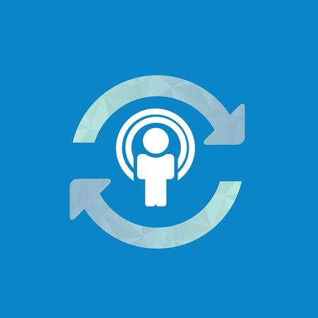 refrescar: Sincronizar icono de usuario, icono de actualización con el hombre en el centro.