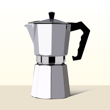 metalic: Realistic italian metalic coffee maker in vector. Illustration