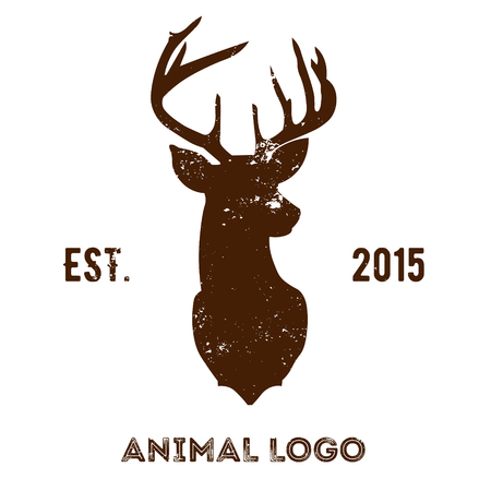 Hipster logotype with brown head of deer Illustration