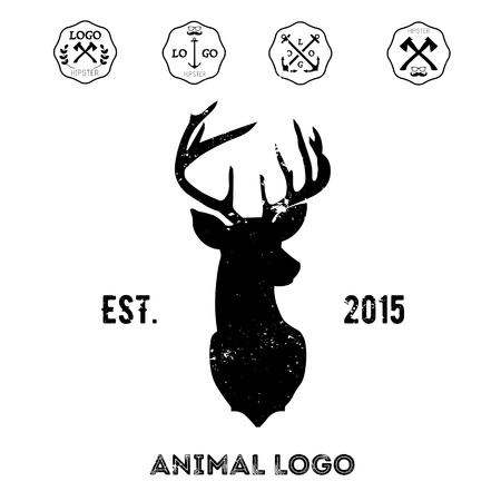 antlers silhouette: Hipster logotype with head of deer