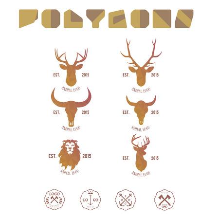 lion dessin: Hipster logotype minimaliste avec la tête de cerfs et de buffles