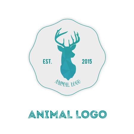 Прямолинейное битник логотип с головой оленя в мятой цвета с градиентом.