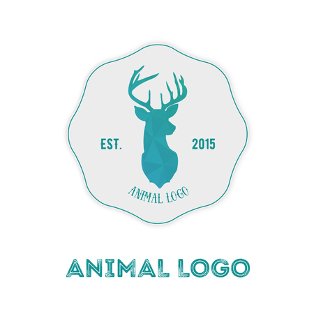 antlers silhouette: Polygonal hipster logo with head of deer in mint color with gradient.