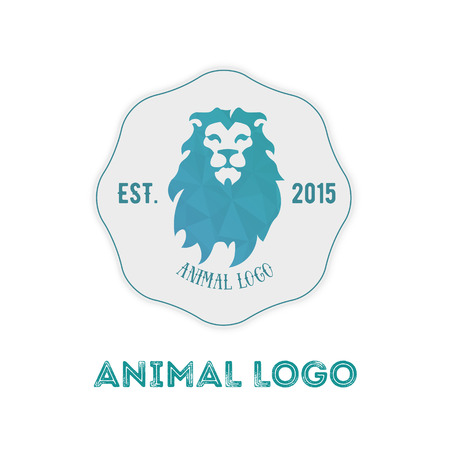 Polygonal hipster logo with head of lion in mint color with gradient.