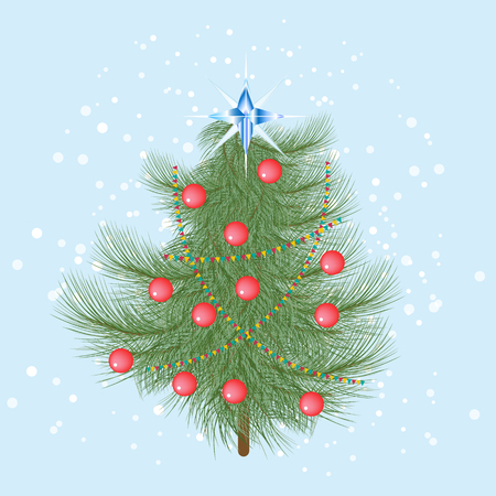 furry: Furry Christmas tree with red balls and a crystal star on top. Illustration
