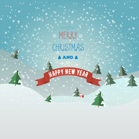 Greeting card Merry Christmas and happy new year with Santa claus and bag with gifts. Christmas tree in the snow. Flat style.
