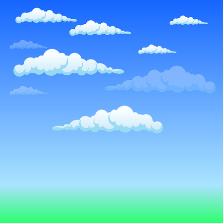 white clouds: Fluffy white clouds in the sky