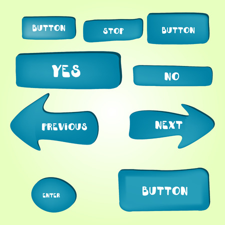 different shapes: Set of cartoon buttons with different shapes