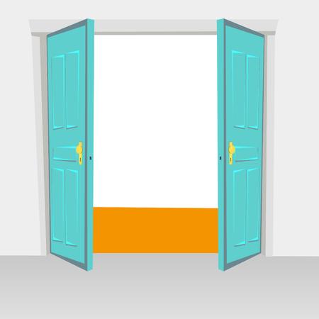 door swings: Opened interior doors hinged bivalve, swings door. Colored with golden handle