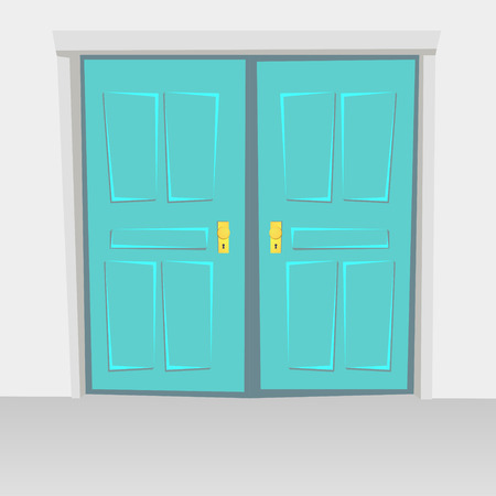hinged: Interior doors hinged bivalve, swings door. Colored with golden handle