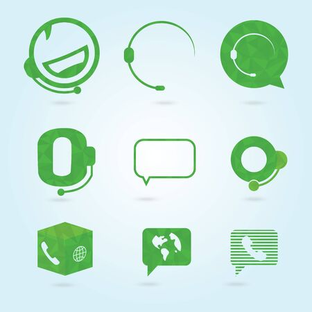 hotline: Polygonal icons for call center or hotline, support symbol in vector.