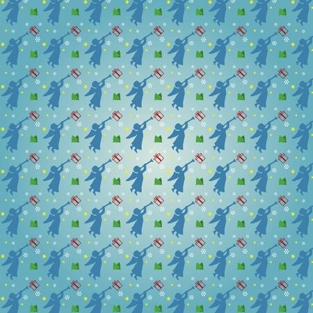 estrella caricatura: Patrón transparente de Navidad con los ángeles, copo de nieve y regalos, árbol de navidad