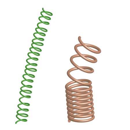 deformed: Deformed Chrome and green springs. Illustration