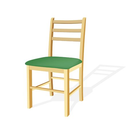 wooden chair: Wooden chair with green seat. Illustration