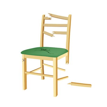 Broken wooden chair with green seat. 일러스트
