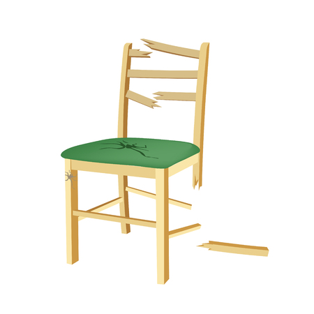 misconception: Broken wooden chair with green seat. Illustration