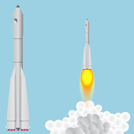booster: Booster Union. Space rocket soars. Illustration