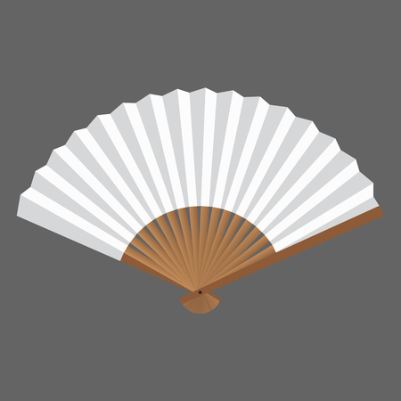 Opened fan white and wooden in vector. Illustration