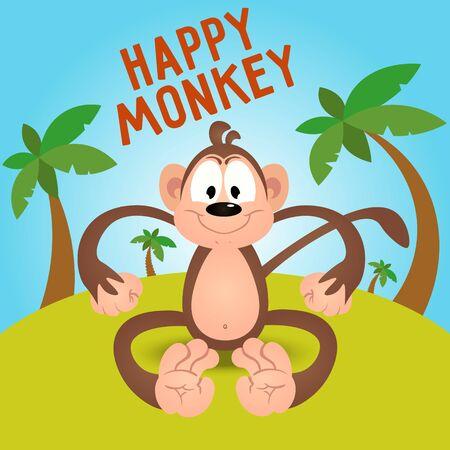 joking: Happy funny cartoon monkey in vector