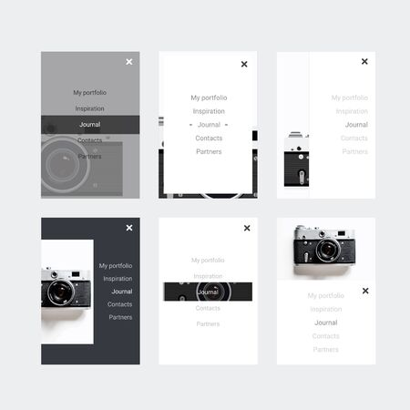 stylesheet: Minimalistic hipster UI Kit for designing responsive websites, mobile apps & user interface.  Old camera on background. Monochrome and flat ui kit for site of photographer.