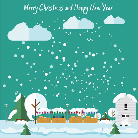 fair: Winter in the city, it is snowing, Christmas Fair. Christmas and New Year card in flat style