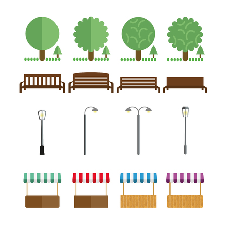forest wood: Elements of the park, benches, lights, market tent, shall in different colors