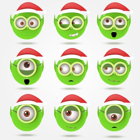 duendes de navidad: Conjunto de elfos de Santa Claus verdes divertidas sonrisas en el cristal de las gafas