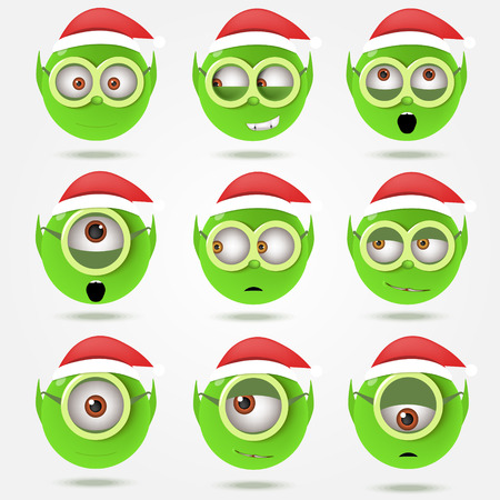 christmas elf: Set of funny green Santas elfs smiles in goggle glasses Illustration
