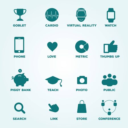 metric: Set of icons goblet, cardio, virtual reality, watch, phone, love, metric, thumbs up, piggy bank, teach, photo, public, search, link, store, conference.