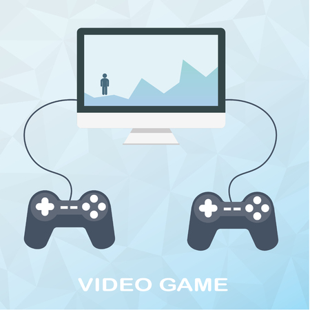 Video game on desktop with two joysticks in flat style on polygonal background. Man overcomes obstacles, climbs on mountains.